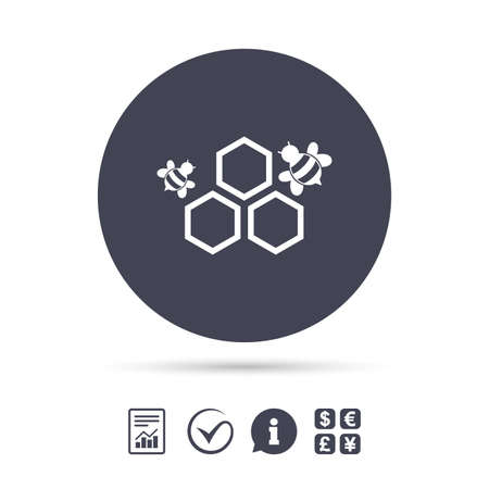 Honeycomb with bees sign icon. Honey cells symbol. Sweet natural food. Report document, information and check tick icons. Currency exchange. Vector Illustration