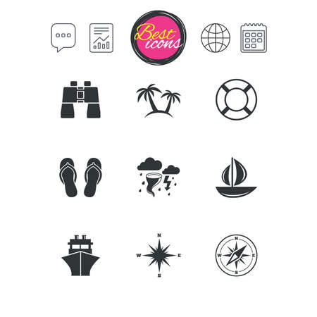 Chat speech bubble, report and calendar signs. Cruise trip, ship and yacht icons. Travel, lifebuoy and palm trees signs. Binoculars, windrose and storm symbols. Classic simple flat web icons. Vector