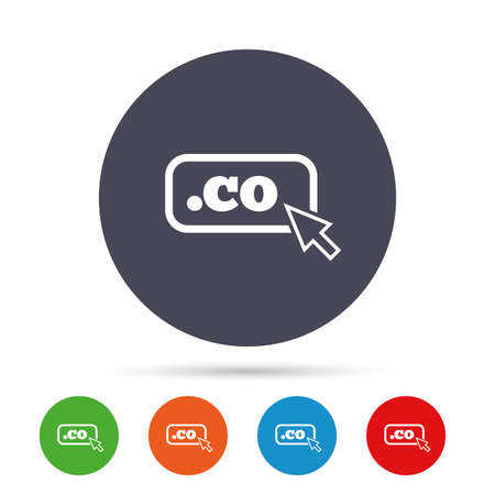 domains: Domain CO sign icon. Top-level internet domain symbol with cursor pointer. Round colourful buttons with flat icons. Vector