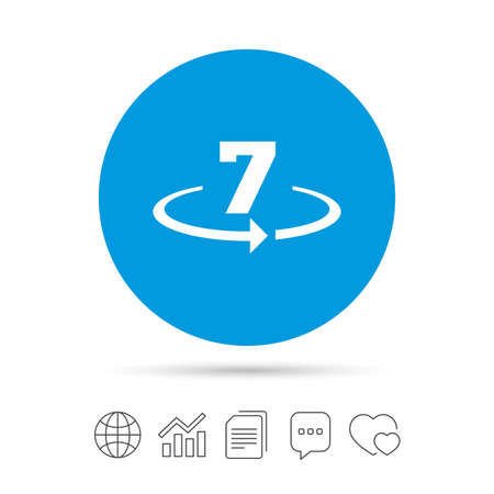 Return of goods within 7 days sign icon. Warranty exchange symbol. Copy files, chat speech bubble and chart web icons. Vector