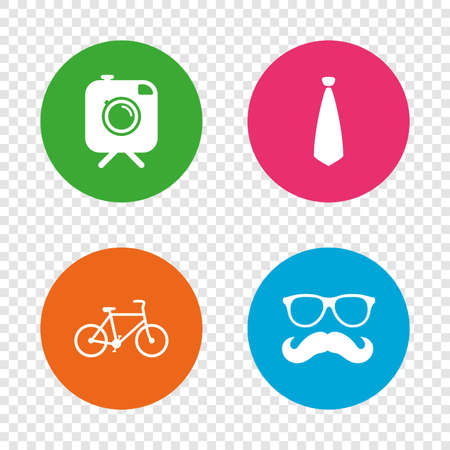 Hipster photo camera with mustache icon. Glasses and tie symbols. Bicycle family vehicle sign. Round buttons on transparent background. Vector Illustration