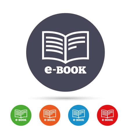 E-Book teken pictogram. Elektronisch boeksymbool. Ebook reader apparaat. Ronde kleurrijke knoppen met plat pictogrammen. Vector