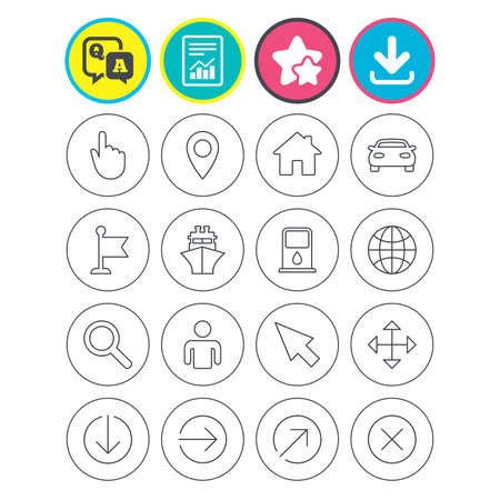 Report, download and star signs. GPS navigation icons. Car and Ship transport. You are here, map pointer symbols. Search gas or petrol stations, hotels. Question and answer or Q&A symbol. Flat buttons