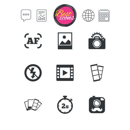 Chat Sprechblase, Bericht und Kalenderzeichen. Foto, Videoikonen. Kamera, Fotos und Rahmenzeichen. Kein Blitz, Timer und Streifen Symbole. Klassische einfache flache Web-Icons. Vektor Standard-Bild - 75150623