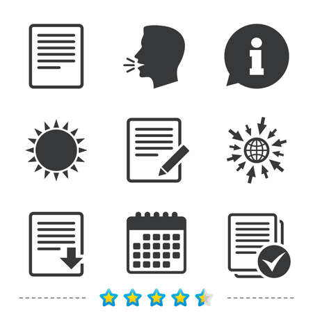 File document icons. Download file symbol. Edit content with pencil sign. Select file with checkbox. Information, go to web and calendar icons. Sun and loud speak symbol. Vector Illustration