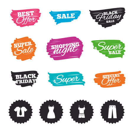 Ink brush sale banners and stripes. Clothes icons. T-shirt with business tie and pants signs. Women dress symbol. Special offer. Ink stroke. Vector