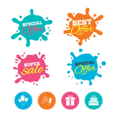 Best offer and sale splash banners. Birthday party icons. Cake and gift box signs. Air balloons and fireworks symbol. Web shopping labels. Vector
