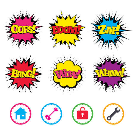tool unlock: Comic Wow, Oops, Boom and Wham sound effects. Home key icon. Wrench service tool symbol. Locker sign. Main page web navigation. Zap speech bubbles in pop art. Vector