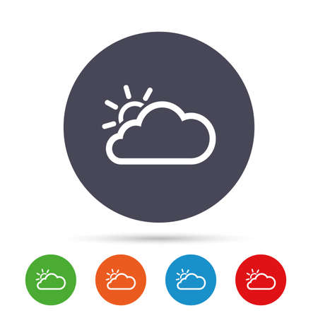 Cloud and sun sign icon. Weather symbol. Round colourful buttons with flat icons. Vector Illustration