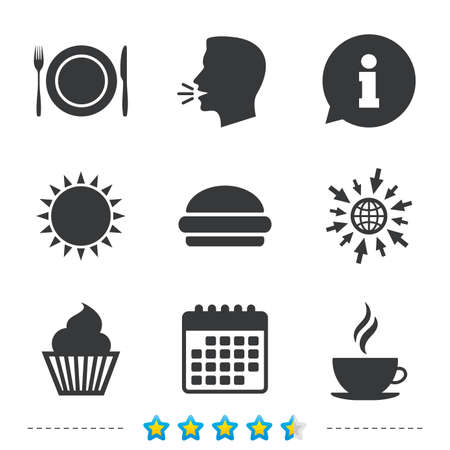 Food and drink icons. Muffin cupcake symbol. Plate dish with fork and knife sign. Hot coffee cup and hamburger. Information, go to web and calendar icons. Sun and loud speak symbol. Vector