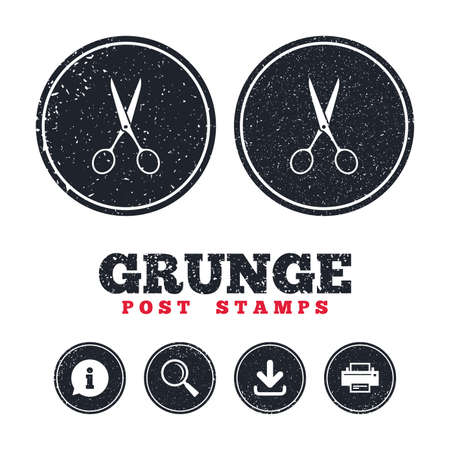 Grunge post stamps. Scissors hairdresser sign icon. Tailor symbol. Information, download and printer signs. Aged texture web buttons. Vector