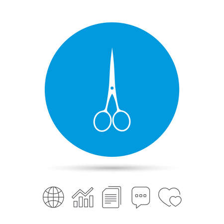 Scissors hairdresser closed icon. Tailor symbol. Copy files, chat speech bubble and chart web icons. Vector