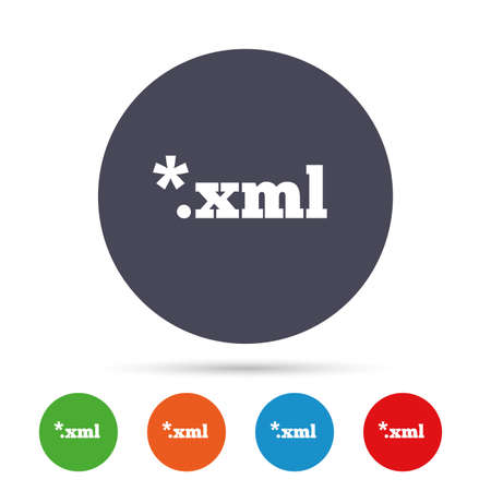 markup: File document icon. Download XML button. XML file extension symbol. Round colourful buttons with flat icons. Vector