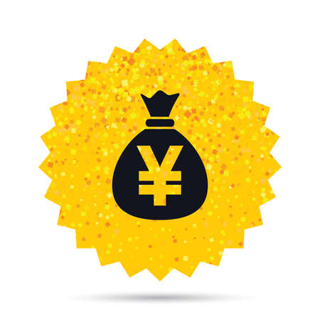 money sack: Gold glitter web button. Money bag sign icon. Yen JPY currency symbol. Rich glamour star design. Vector