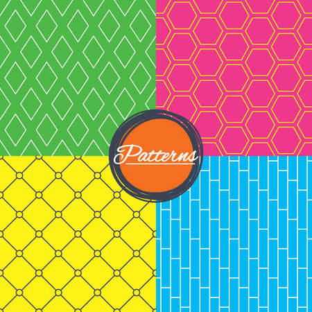 Rhombus, hexagon and grid with circles seamless textures. Linear geometric patterns. Modern textures. Abstract patterns with colored background. Vector 向量圖像