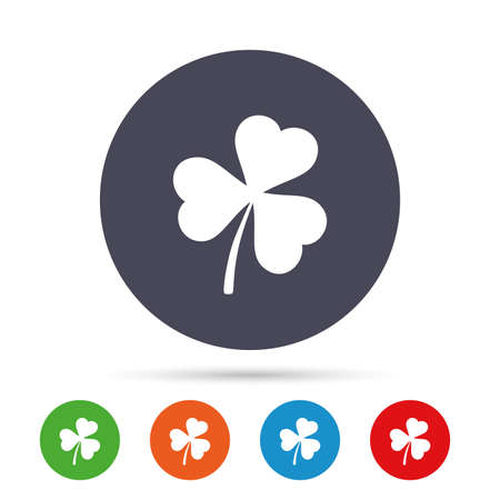 Clover with three leaves sign icon. Trifoliate clover. Saint Patrick trefoil symbol. Round colourful buttons with flat icons. Vector Illustration