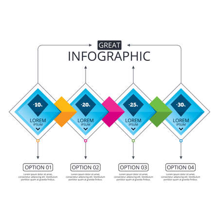 Infographic flowchart template. Business diagram with options. Sale discount icons. Special offer price signs. 10, 20, 25 and 30 percent off reduction symbols. Timeline steps. Vector Çizim