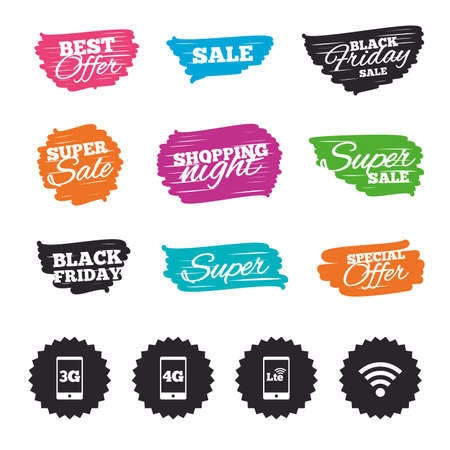 Ink brush sale banners and stripes. Mobile telecommunications icons. 3G, 4G and LTE technology symbols. Wifi Wireless and Long-Term evolution signs. Special offer. Ink stroke. Vector