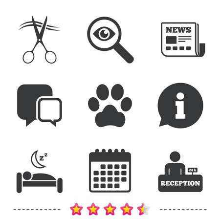 Hotel services icons. With pets allowed in room signs. Hairdresser or barbershop symbol. Reception registration table. Quiet sleep. Newspaper, information and calendar icons. Vector Иллюстрация