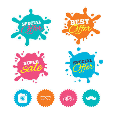 Best offer and sale splash banners. Hipster photo camera with mustache icon. Glasses symbol. Bicycle family vehicle sign. Web shopping labels. Vector