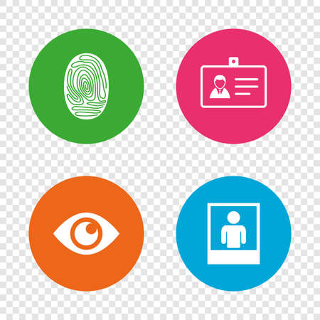 Identity ID card badge icons. Eye and fingerprint symbols. Authentication signs. Photo frame with human person. Round buttons on transparent background. Vector Illustration