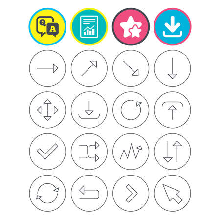 fullscreen: Report, download and star signs. Arrows line icons. Download, upload, check or tick symbols. Refresh, fullscreen and shuffle thin outline signs. Question and answer or Q&A symbol. Flat buttons. Vector Illustration