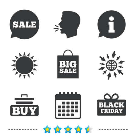 Sale speech bubble icons. Buy cart symbols. Black friday gift box signs. Big sale shopping bag. Information, go to web and calendar icons. Sun and loud speak symbol. Vector