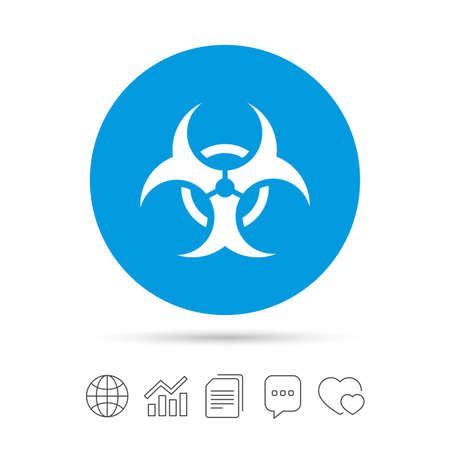 Biohazard sign icon. Danger symbol. Copy files, chat speech bubble and chart web icons. Vector