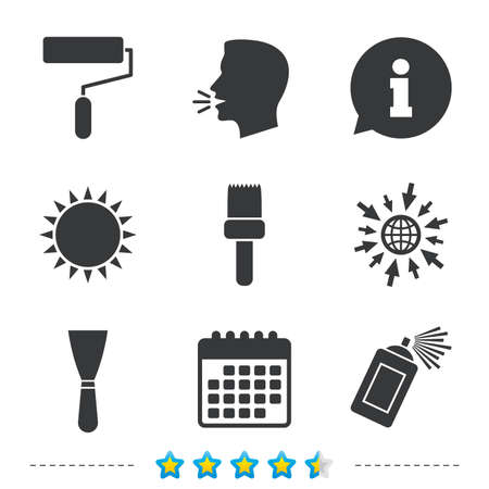 Paint roller, brush icons. Spray can and Spatula signs. Wall repair tool and painting symbol. Information, go to web and calendar icons. Sun and loud speak symbol. Vector