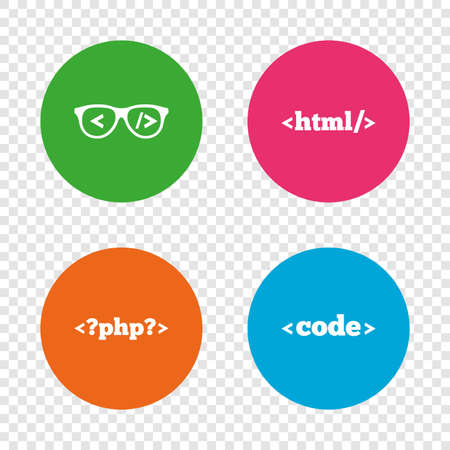 Programmer coder glasses icon. HTML markup language and PHP programming language sign symbols. Round buttons on transparent background. Vector Illustration