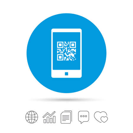 qrcode: Qr code sign icon. Scan code in smartphone symbol. Coded word - success! Copy files, chat speech bubble and chart web icons. Vector