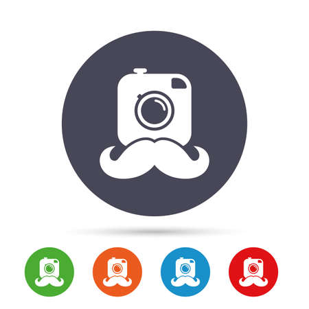 Hipster photo camera with mustache sign icon. Retro camera symbol. Round colourful buttons with flat icons. Vector