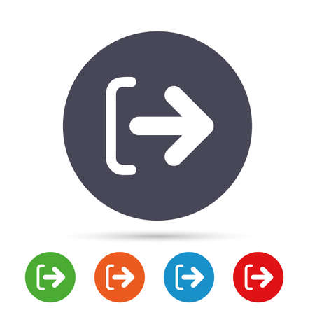 Logout sign icon. Sign out symbol. Arrow icon. Round colourful buttons with flat icons. Vector Фото со стока - 75150751