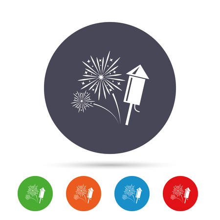 Fireworks with rocket sign icon. Explosive pyrotechnic symbol. Round colourful buttons with flat icons. Vector Illustration