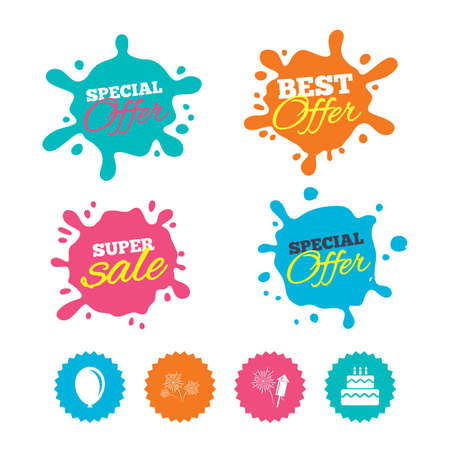 Best offer and sale splash banners. Birthday party icons. Cake and gift box signs. Air balloon and fireworks symbol. Web shopping labels. Vector