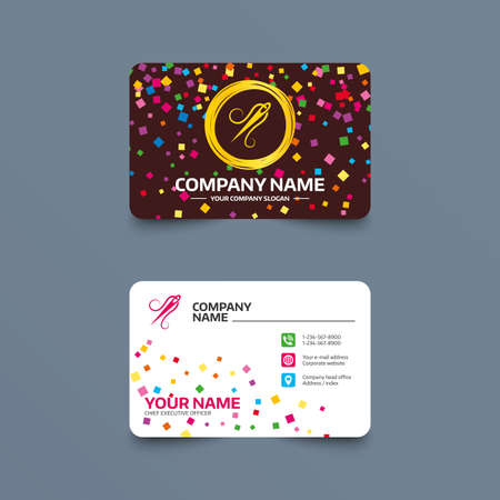 Business card template with confetti pieces. Needle with thread icon. Tailor symbol. Textile sew up craft sign. Embroidery tool. Phone, web and location icons. Visiting card  Vector