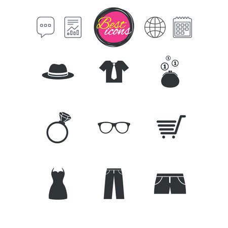 Chat speech bubble, report and calendar signs. Clothes, accessories icons. Shirt, glasses and hat signs. Wallet with cash coins symbols. Classic simple flat web icons. Vector