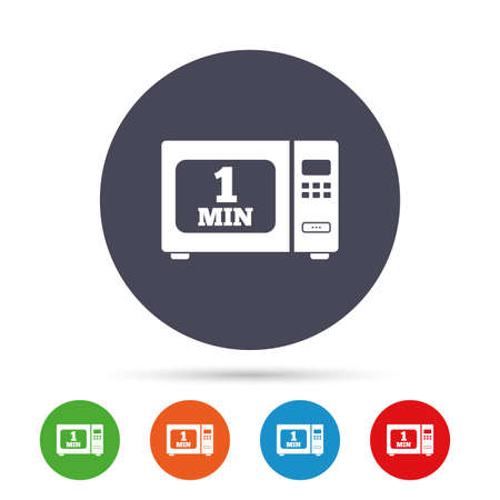 Cook in microwave oven sign icon. Heat 1 minute. Kitchen electric stove symbol. Round colourful buttons with flat icons. Vector