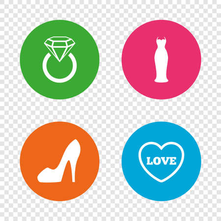 Wedding Or Engagement Day Ring With Diamond Sign Round Buttons On Transparent Background Vector