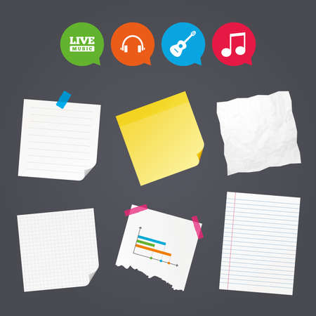 Business paper banners with notes. Musical elements icons. Musical note key and Live music symbols. Headphones and acoustic guitar signs. Sticky colorful tape. Speech bubbles with icons. Vector