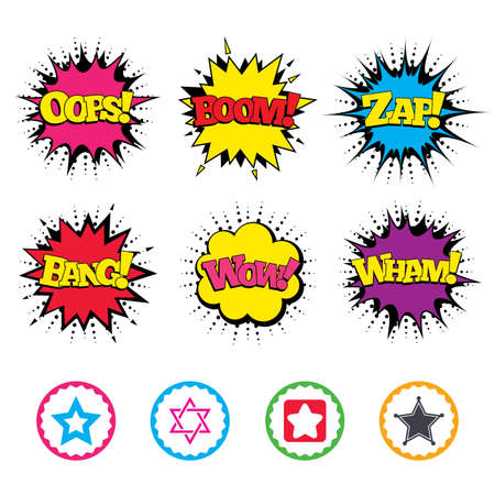 Comic Wow, Oops, Boom and Wham sound effects. Star of David icons. Sheriff police sign. Symbol of Israel. Zap speech bubbles in pop art. Vector