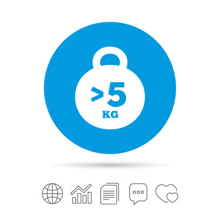 무게 기호 아이콘입니다. 5 킬로그램 (kg) 이상. 스포츠 기호입니다. 적합. 파일 복사, 연설 거품 채팅 및 차트 웹 아이콘. 벡터 일러스트