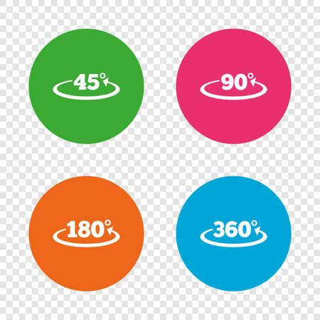 Angle 45-360 degrees icons. Geometry math signs symbols. Full complete rotation arrow. Round buttons on transparent background. Vector Illustration