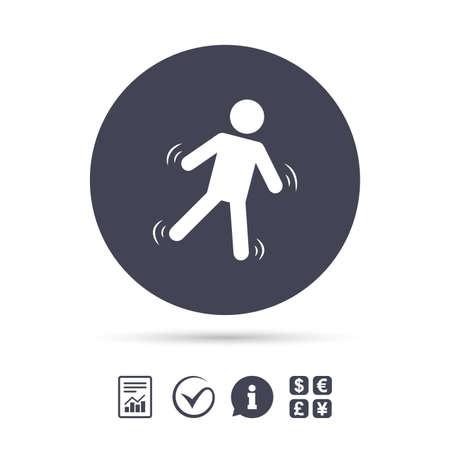 남자 기호 아이콘을 내린다. 인간의 상징 아래로 떨어지고있다. 미끄러운주의. 보고서, 정보 및 틱 아이콘을 확인하십시오. 환전소. 벡터