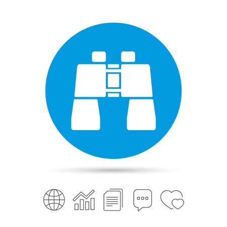 Binocular sign icon. Search symbol. Find information. Copy files, chat speech bubble and chart web icons. Vector