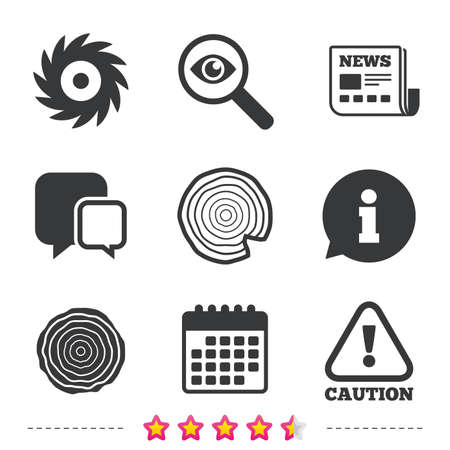 warning saw: Wood and saw circular wheel icons. Attention caution symbol. Sawmill or woodworking factory signs. Newspaper, information and calendar icons. Investigate magnifier, chat symbol. Vector