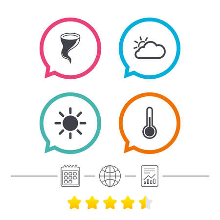 Weather icons. Cloud and sun signs. Storm symbol. Thermometer temperature sign. Calendar, internet globe and report linear icons. Star vote ranking. Vector