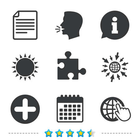 puzzle corners: Plus add circle and puzzle piece icons. Document file and globe with hand pointer sign symbols. Information, go to web and calendar icons. Sun and loud speak symbol. Vector