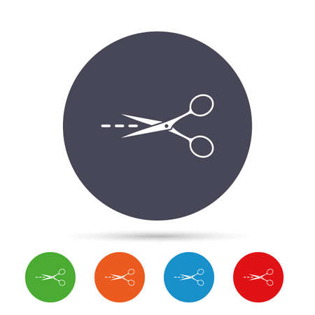 Scissors with cut dash dotted line sign icon. Tailor symbol. Round colourful buttons with flat icons. Vector