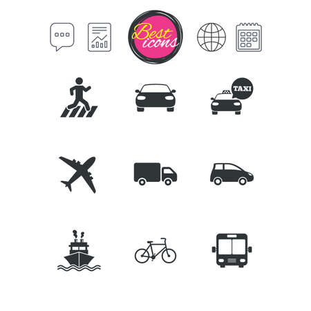 Chat speech bubble, report and calendar signs. Transport icons. Car, bike, bus and taxi signs. Shipping delivery, pedestrian crossing symbols. Classic simple flat web icons. Vector